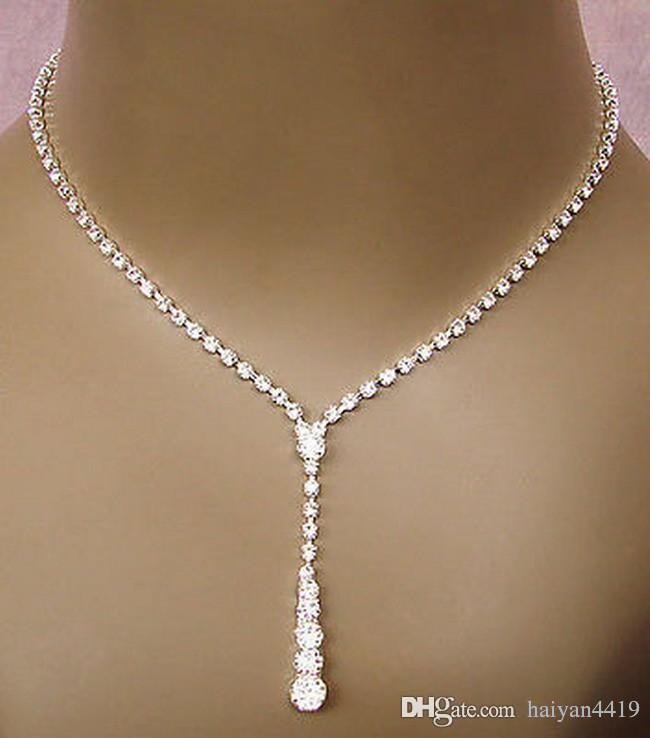 2018 Bling Kristal Gelin Takı Seti gümüş kaplama kolye elmas küpe Düğün takı setleri gelin Nedime kadınlar için Aksesuarları