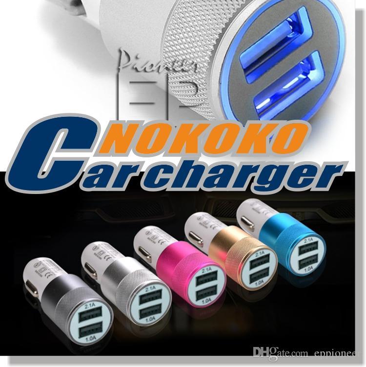 BRAND NOKOKO Best Metal Dual USB Port Car Charger Universal 12 Volt 1 ~ 2 Amp for Samsung Galaxy Droid Nokia Htc