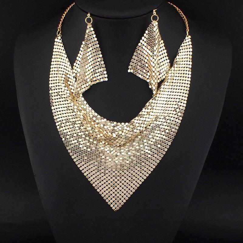 Indian Chic Style Shining Metal Slice Bib Choker Statement Necklaces Matching Earring Party / Wedding Fashion Jewelry Sets #3056