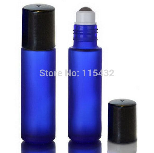 Fosco 10 ml 1/3 oz azul cobalto grosso rolo de vidro em óleos essenciais garrafa garrafa de aromaterapia + bola de rolo de metal por DHL frete grátis