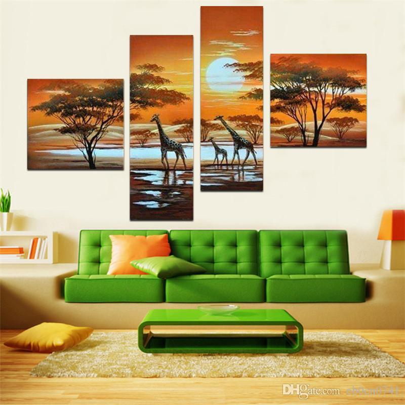 Moderne Kunstgeschenke abstraktes Ölgemälde auf Segeltuch afrikanische Landschaft Tiergiraffekombination 4 buchstabierten Hauptdekoration-Malerei