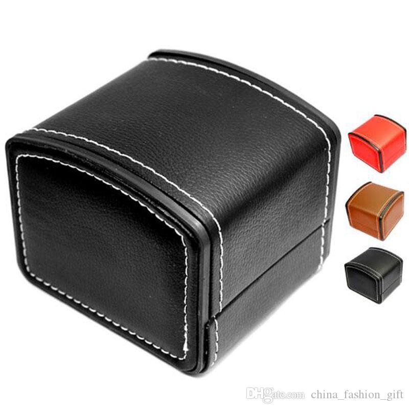 PU Deri Saat Kutuları Saatler Takı için İş Adamı Top Kalite Siyah Kısa Ambalaj Kutusu İçin