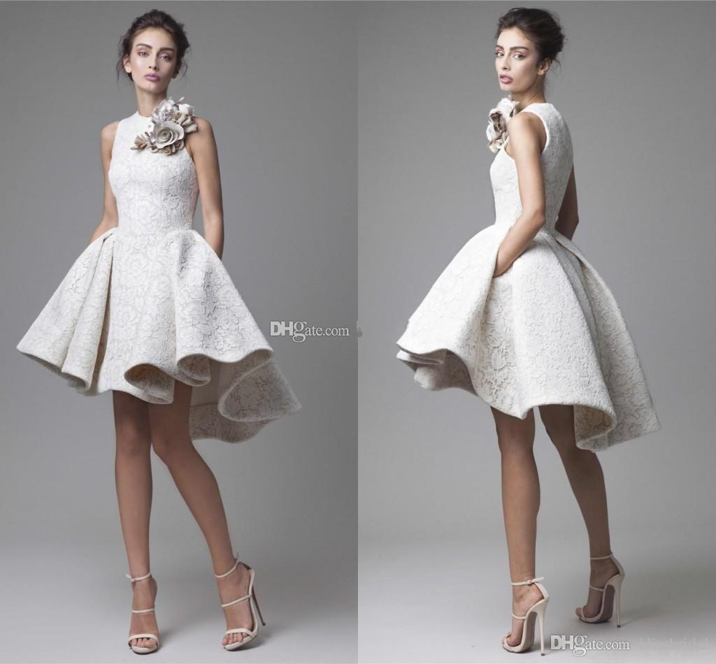 New Spring White lace Short Evening Dresses Arabic Dubai Hand Made Floral High Low Prom Gowns Fashion Party Cocktail Dresses
