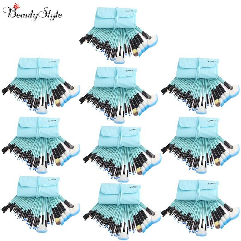 Azul 10 Conjuntos 32 pçs / set Vander Maquiagem Pincéis Maquillage Brushes Foundation Pinceaux Maquiagem Maquillage Pincel de Ferramentas + Saco Bolsa