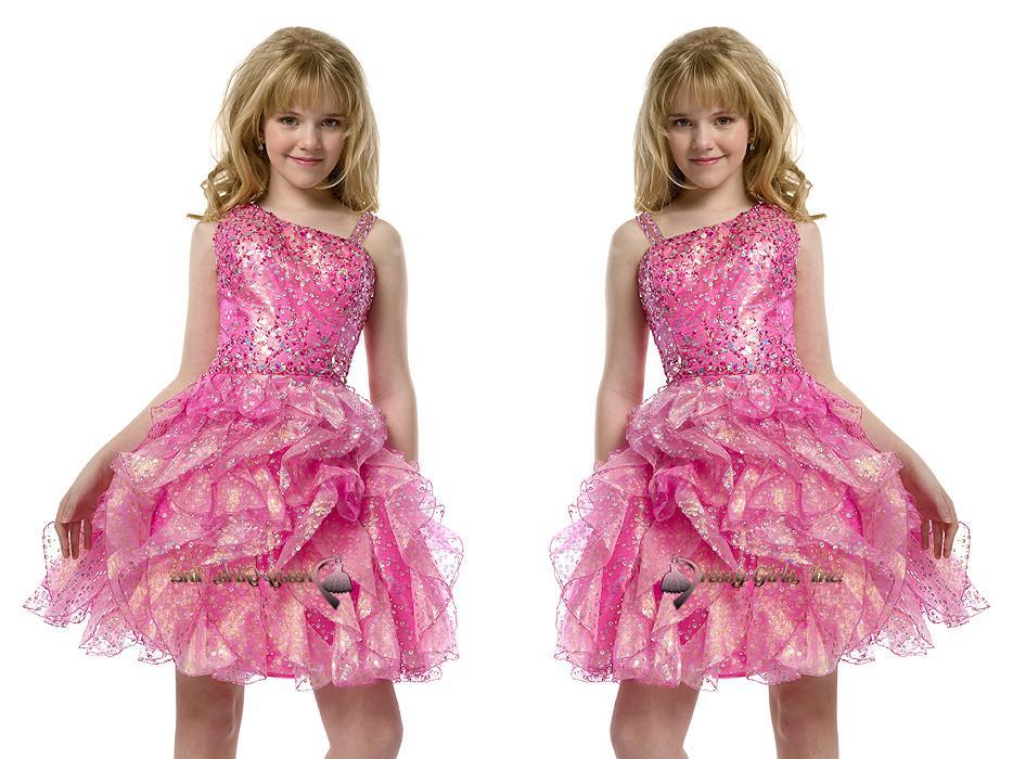 2015 Cekiny Pre Teen Krótki Pełny Frezowanie Różowe Dziewczyny Korowód Suknie Pleat Długość Knee Little Kids Duże dziewczyny Suknie Party