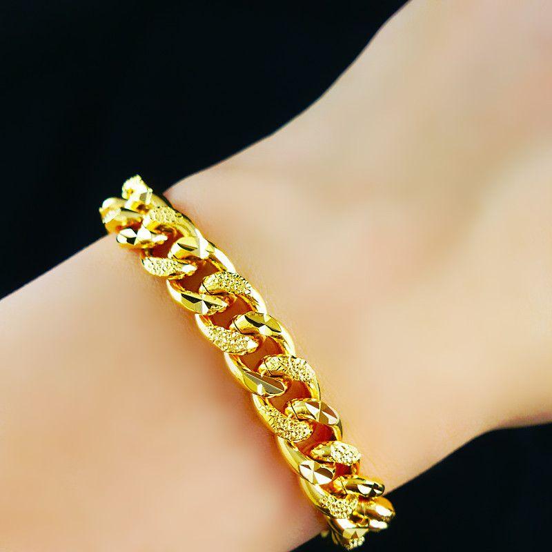 """الجملة - عروض سوبر للبيع / التجزئة 18K الذهب الأصفر معبأ المرأة سوار الصلبة كبح رابط سلسلة الأزياء الحلي 8.66 """"10MM"""
