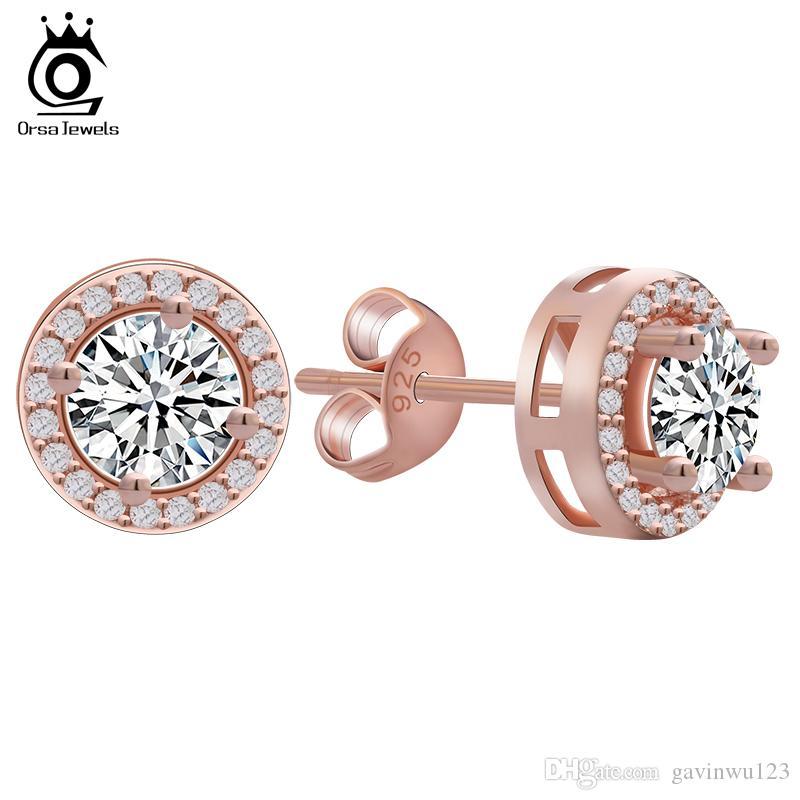 ORSA oro rosa Orecchino con 0,75 ct giallo CZ Diamante Classica 4 Artiglio orecchini per le donne 2 colori disponibili OE104-R