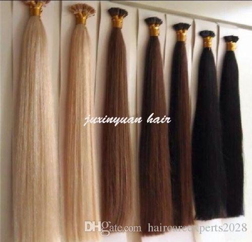 7A 16 -24 Flat Tip Hair Extension Indian remy Hair 1g / s 150g / pack # 1 # 1B # 2 # 4 # 6 # 99j # 613 # 24 # 27 Keratin Hair Extension Human Hair