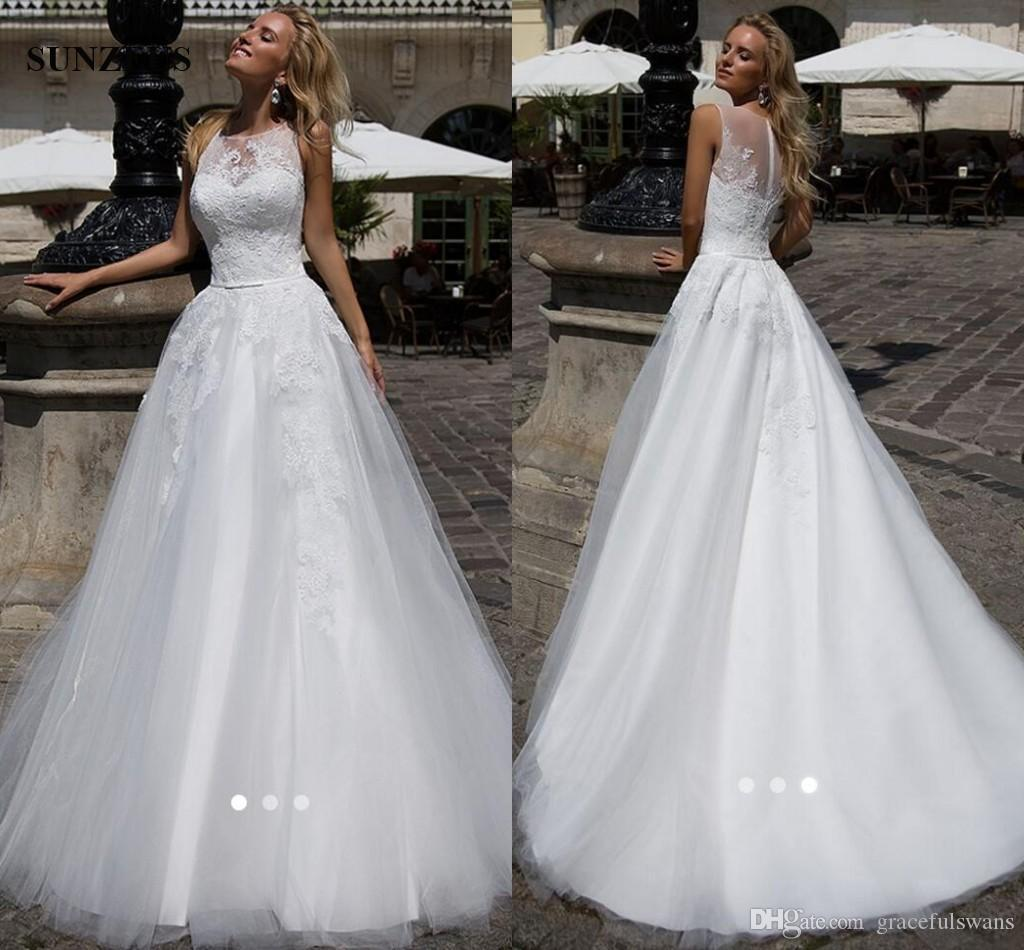 A-line Tank Appliques Lace Wedding Gowns Long Tulle Women Marrige Dress New Designer Bridal Gowns Free Shipping