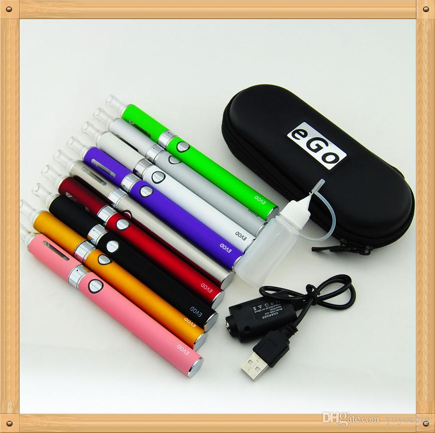 Ego EVOD Electronic Cigarettes Kits MT3 Atomizer 650mah 900mah 1100mah EVOD Battery E Cigarette MT3 clearomizer in Zipper case E Cigs USB