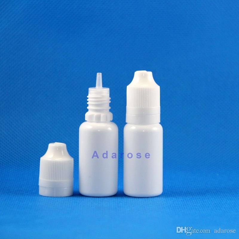 100 개 / 롯트 15 ML LDPE 화이트 이중 증명 플라스틱 Dropper 병 탬퍼 증거 아동 증거 증기 밧줄 전자 액체