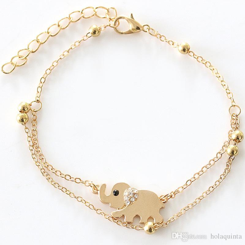 Mode Strass Gold Elephant Kette Fußkettchen Knöchel Armband Sexy Alloy Barfuß Sandale Strand Fuß Frauen Partei Schmuck Großhandel