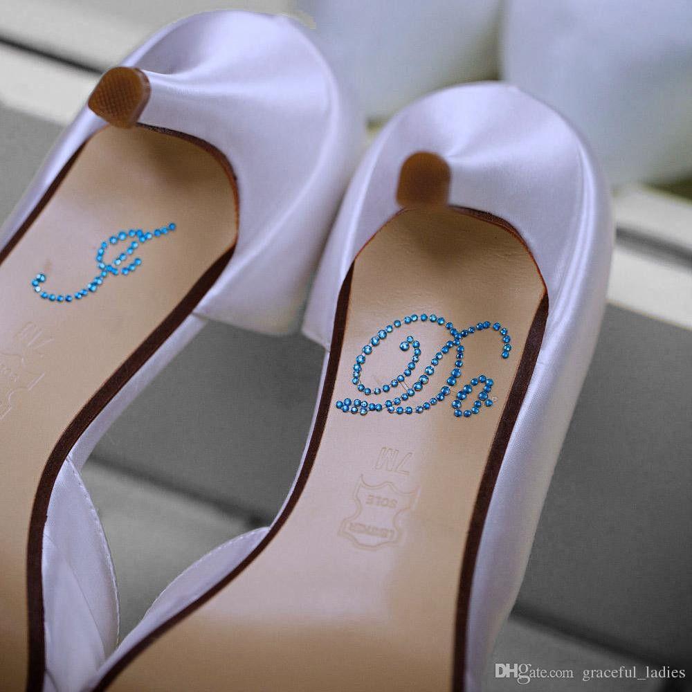 """1 La etiqueta engomada de los zapatos de la boda de Rair incluye """"HAGO"""" o """"YO TAMBIÉN"""" claro Rhinestones nupcial del zapato de la decoración de la parte inferior modesta barata 1 Usd un par"""