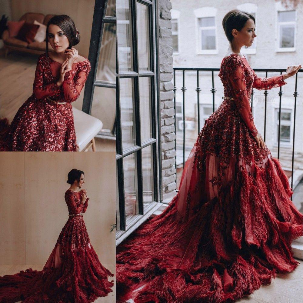 Großhandel Wunderschöne Rote Strass Abendkleider Luxus Feder Pailletten  Perlen Langarm Abendkleid Atemberaubende Sexy Formelle Kleidung Roter  Teppich