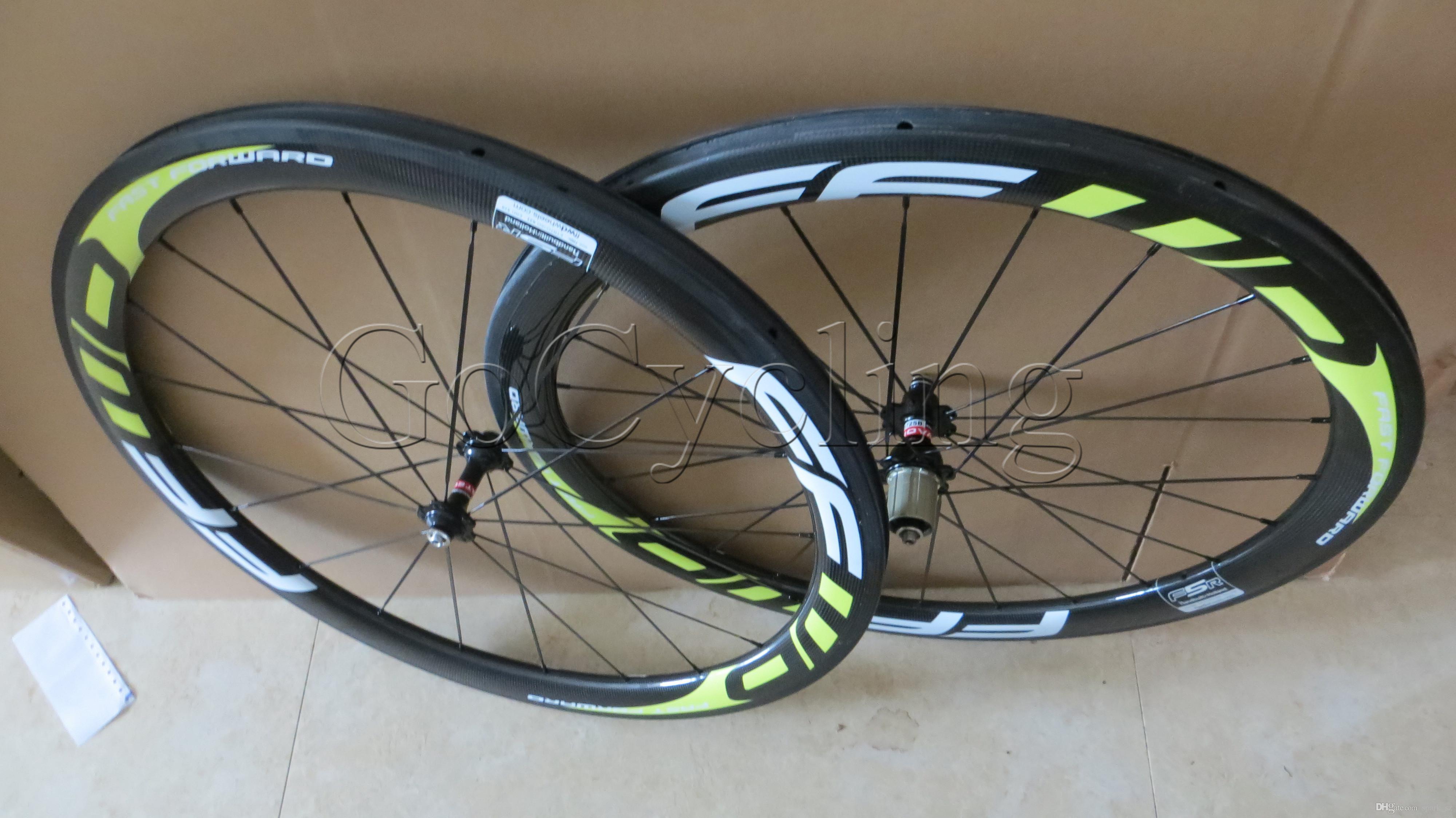 FFWD fast forward F5R white Yellow decals 50mm clincher tubular road cycling bike wheelset basalt brake surface rim width 27mm 3k matt
