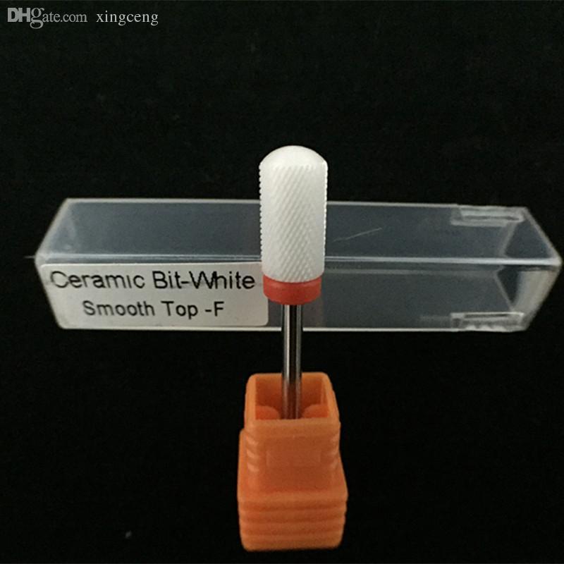 Atacado-Alta qualidade Branco Cerâmica Fina Grande Barril Suave Prego Broca Para manicure elétrica máquina acessórios ferramentas