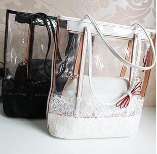 Female Summer PVC Transparent tote Womens Beach Bags Fluorescent Handbags Fashion Lace Button Edge black white free shipping