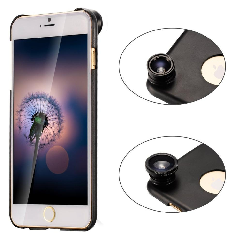 3in1 kit Fish Eye + Wide Angle + Macro Kit for iPhone 6 6S PLUS 5S 5C SE 4 with back case for iPhone phone CL-85 lens