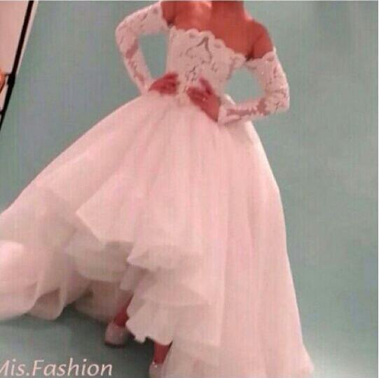 Sexy Hi Lo Wedding Dresses 2015 Sheer Crew Neckline with Long Sleeves Organza Bridal Gowns vestido de noiva