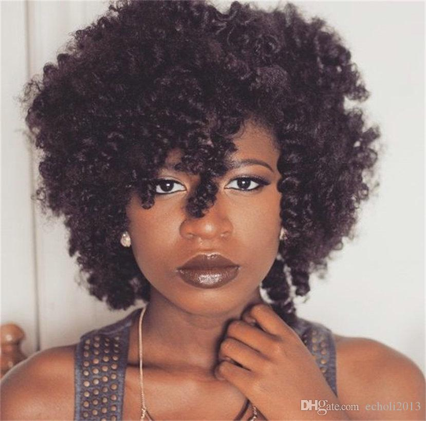 Cheap Short Human Hair Kinky Curly Full Lace Wig African American Bob Style Kinky Curly Lace Front Wig For Black Women Wet And Wavy Full Lace Wigs Whole Lace Wigs Human Hair