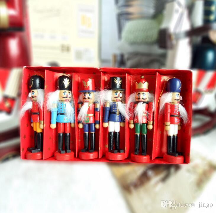Decoración Muñecas 6pcs cascanueces de marionetas de Zakka creativo de escritorio de madera de 12 cm Barra de Navidad adornos dibujo Nueces soldados de madera muñeca nt