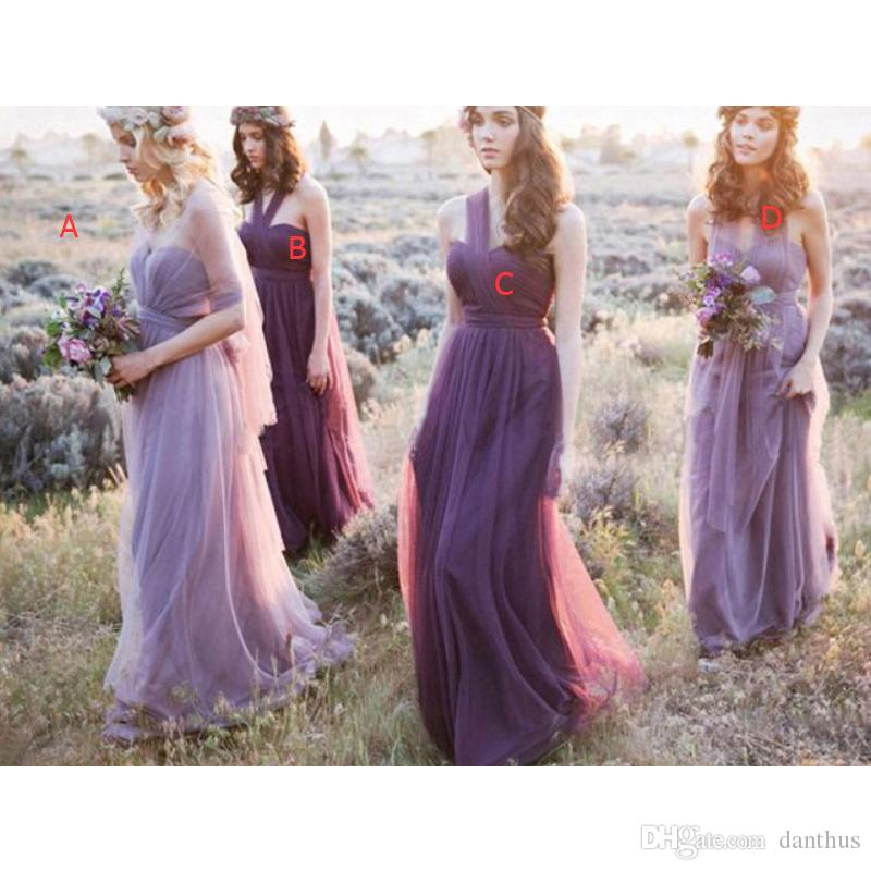 Long Tulle Purple Bridesmaid Dresses Country Style Maid Of Honor ...