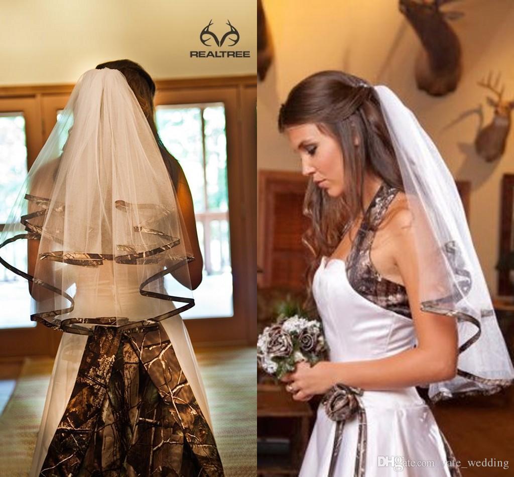 Zarif Camo Kısa Gelin Veils Dirsek Uzunluğu Camo Şerit Kenar Düğün Veils Saç Adet Gelinler Için Özel Yapılmış