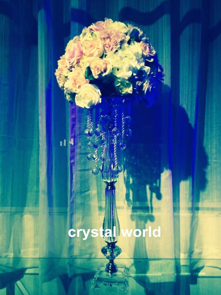 Uzun boylu akrilik kristal tall çiçek masa düğün dekorasyon için vazo centerpieces standı