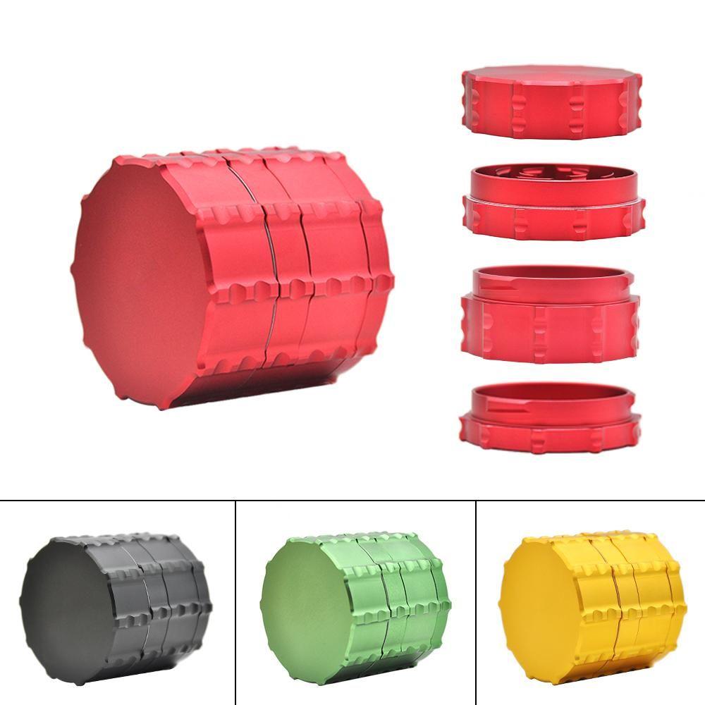 LOGO alta calidad Dia.60MM 4 piezas de aluminio Tabaco Amoladora Trituradora de hierba de la especia amoladora con la caja de almacenamiento pueden personalizar
