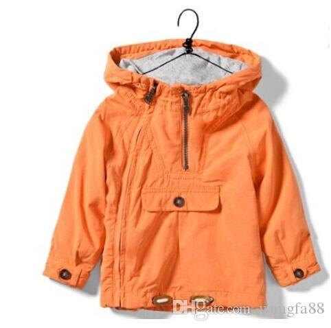 outerwear jaqueta de crianças infantil para cardigan primavera meninas meninos outono zipper laranja com capuz revestimentos encapuçados Coats 2016 novo