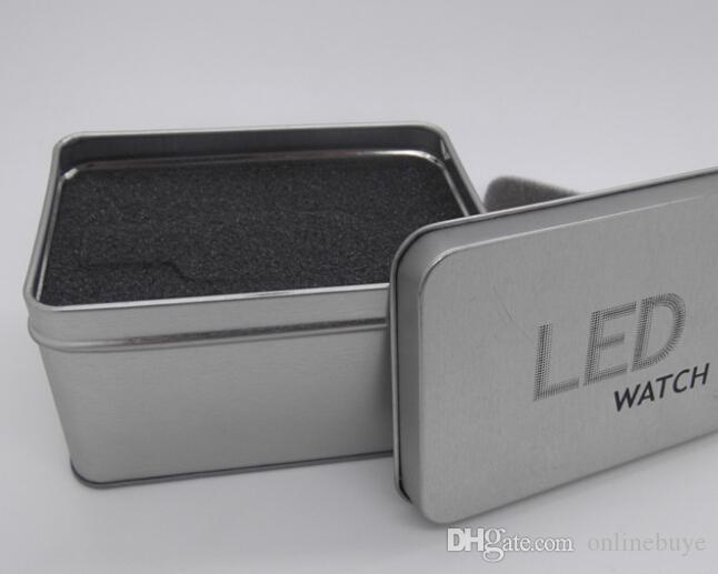 10шт стильные алюминиевые часы коробки случаи металлические женские мужские подарочная коробка ювелирных изделий витрина хранения часы