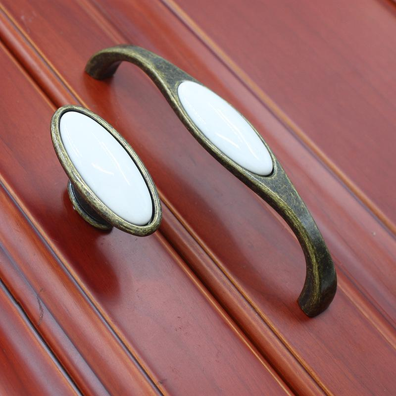 vintage antique copper white ceramic door handle/pull, for cabinet kitchen drawer furniture pull- knob Pitch-row 128#299