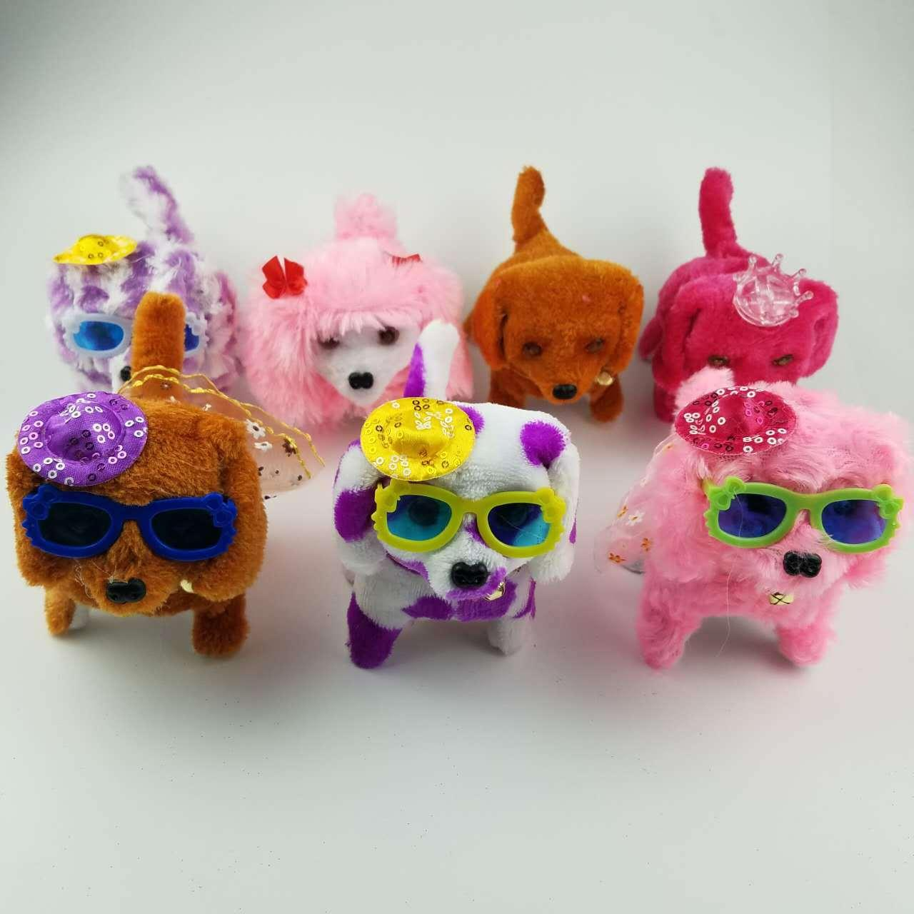 The factory sells plush, shining, forward and backward, dog wearing hat glasses and skirts will call the wholesale of electric toys