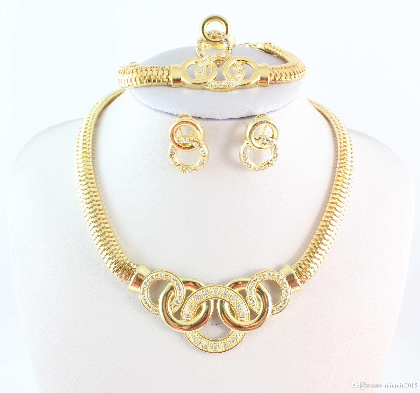 حار بيع الأزياء قلادة مجموعة المجوهرات الأفريقية مجموعة 18 كيلو الذهب مطلي الزفاف rhingstone دبي أحدث الهندي حزب الملحقات