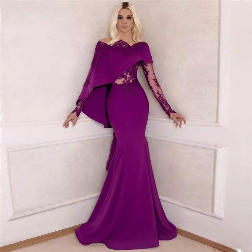 Lila arabische Spitze applizierten Prom Kleider Bateau Neck Long Sleeves Abendkleider Meerjungfrau Vestidos De Fiesta bodenlangen formelle Kleidung