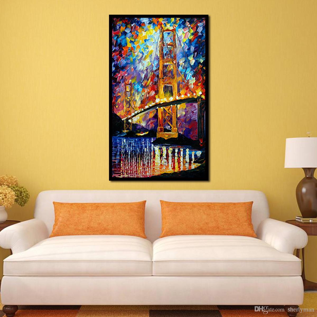 2018 The Golden Gate Bridge Impressionist Art Oil Wall Decorative ...