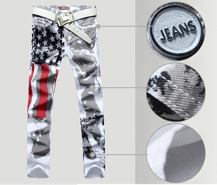 Мужские джинсы, штаны с обычным карандашом, джинсы для джинсов для мужчин, Hot 2014 New American Flag Slim Trousers, размер 28-38 бесплатно