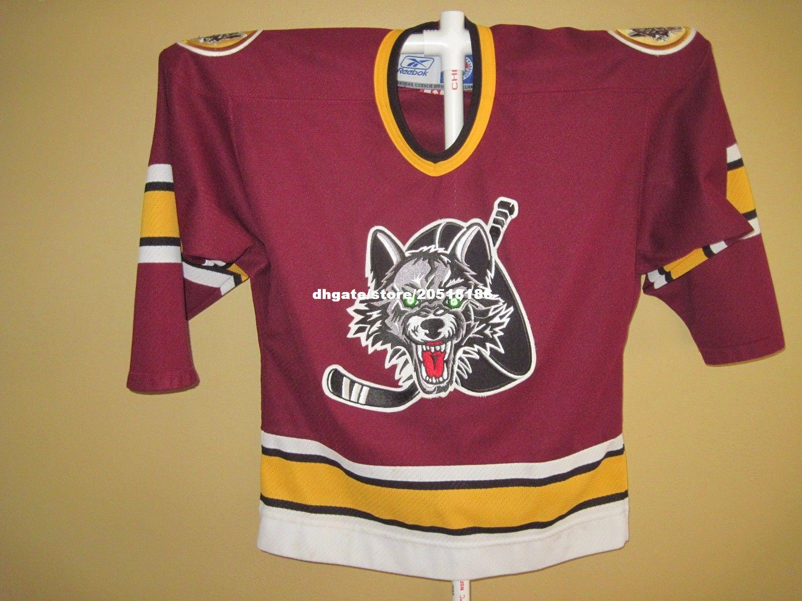 Cheap custom Chicago Wolves Jerseys Officially Licensed AHL stitched Men s  hockey jersey 3001d612957