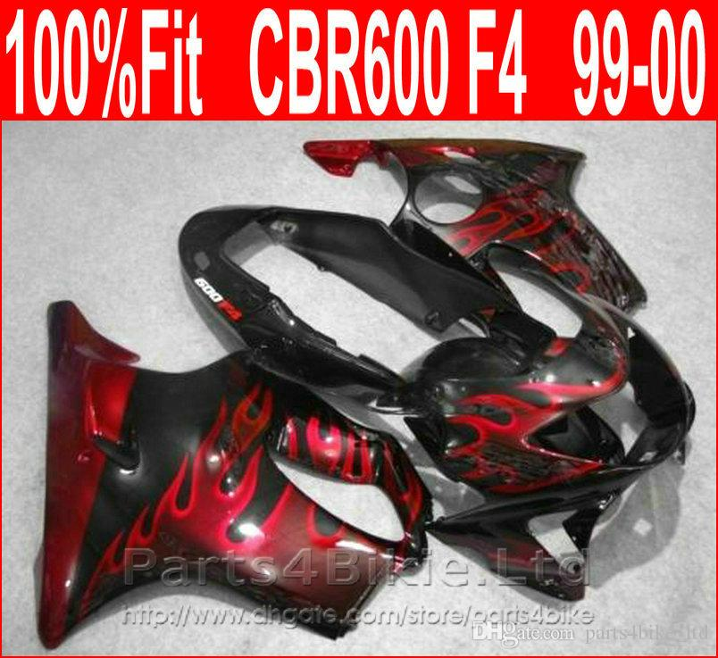 High Quality bodywork for Honda Red flame black fairing CBR600 F4 99 00 CBR 600 F4 fairings kit 1999 2000 BWBY