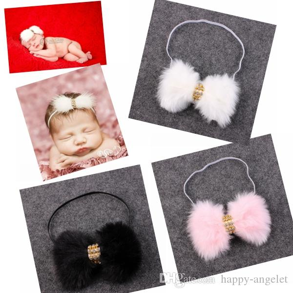 50pcs New Baby Rabbit Fur bow Headband for Infant Girl Hair Accessories Elegant FUR bows clip hair band Newborn Photography Prop YM6105