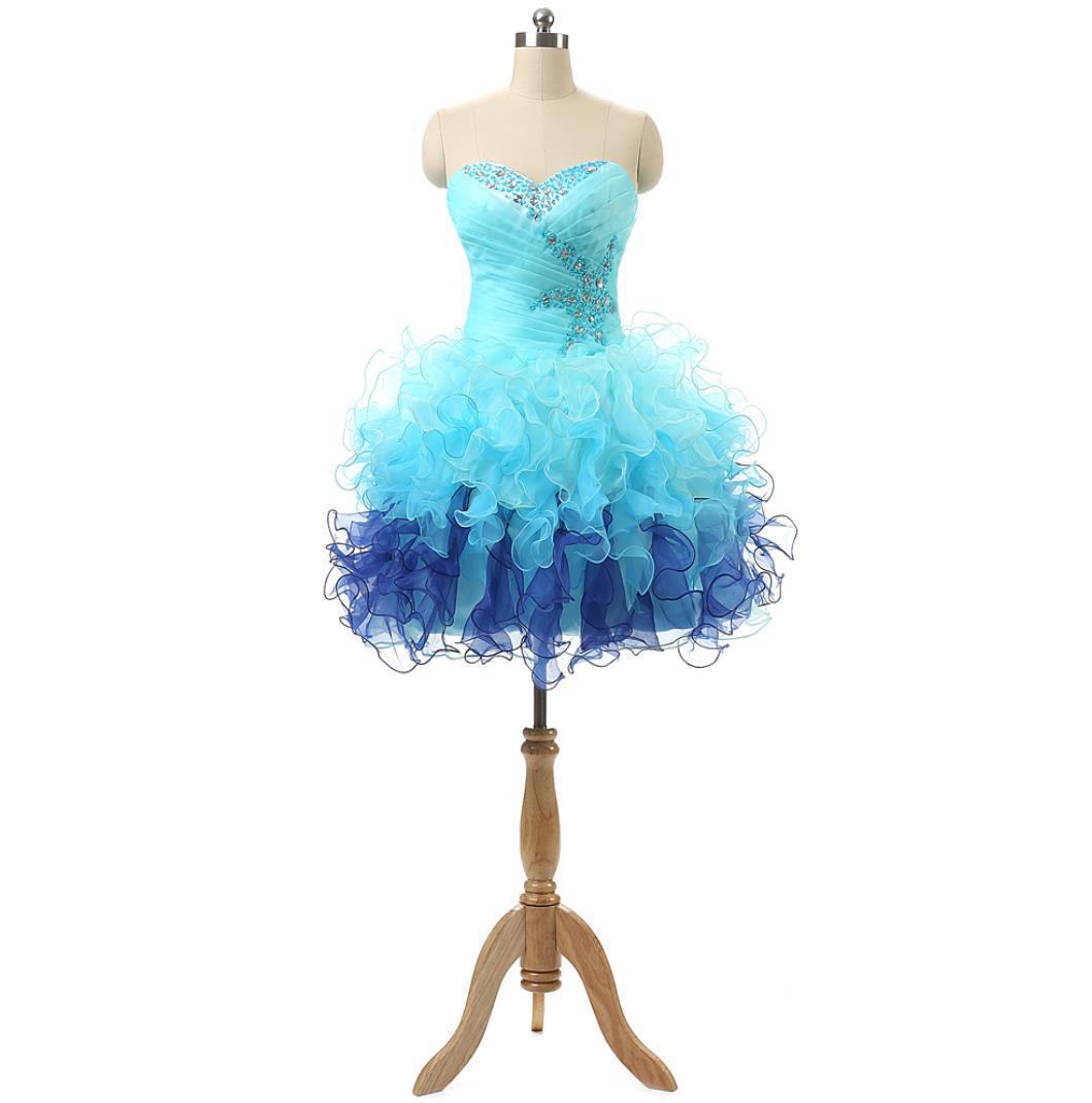 Eye-Catching Short 8th Grade Graduation / Homecoming Prom Dresses Sweetheart Beaded Ruffles Organza Mini Junior Cheap Club Party Dress