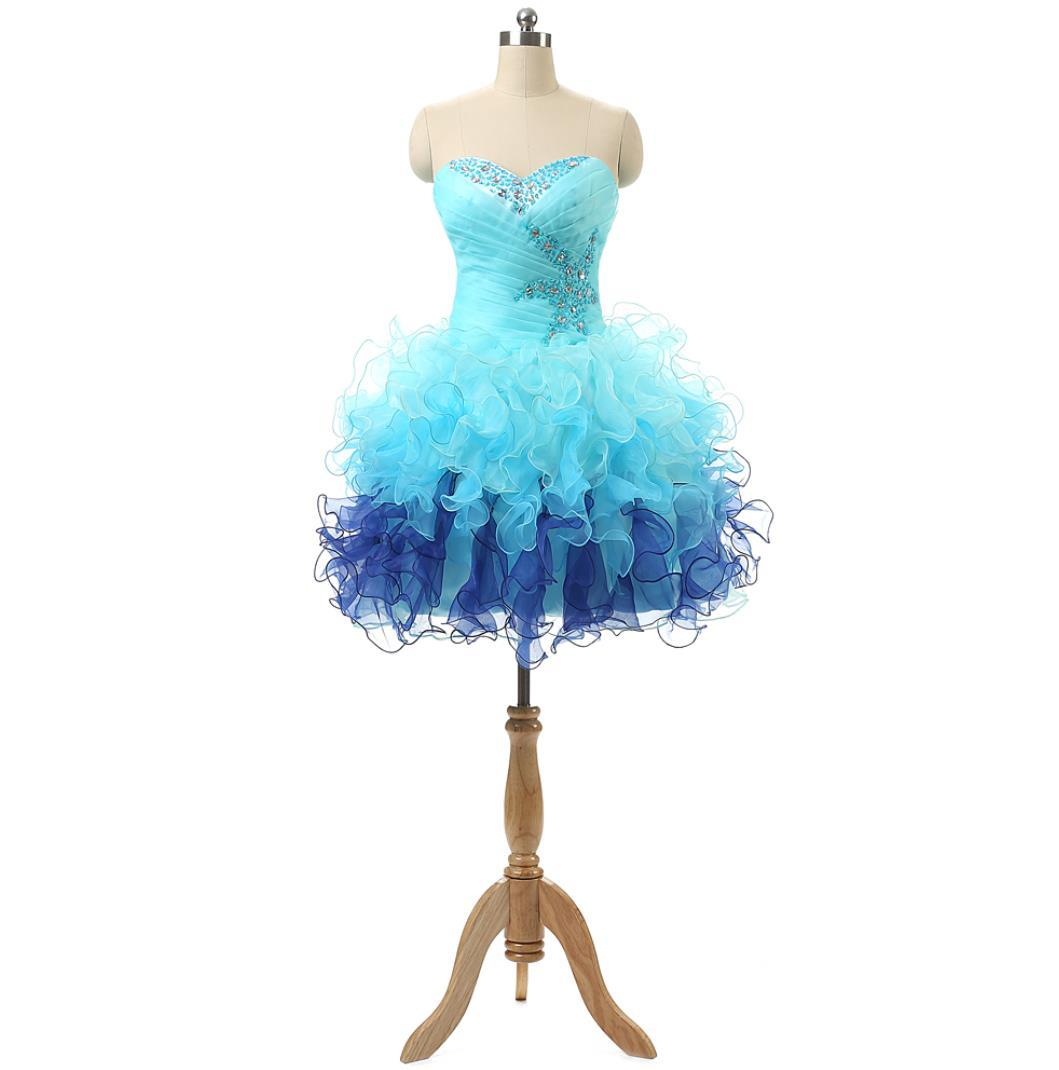 Eye-Catching Short 8th Grade Graduation / Homecoming Prom Dresses Sweetheart Beaded Ruffles Organza Mini Junior Cheap Club Party Dress