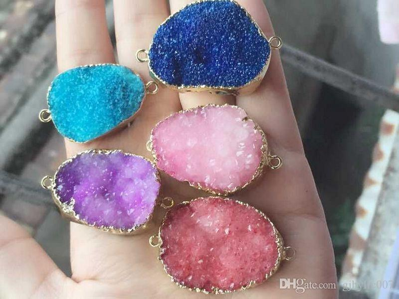 Fashion HOT DIY 6pcs Gold plated mixed color Nature Quartz Druzy Geode connector , Drusy Crystal Gem stone Pendant Beads, Jewelry findings