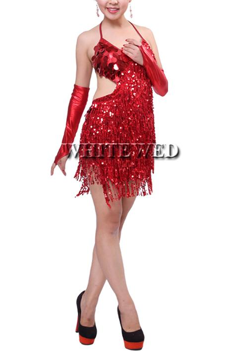 China sequin fringe backless tassel latin salsa tango ballroom dance night dress costumes clothes for competition with fringe for sale cheap