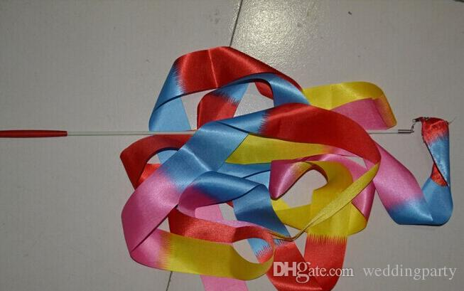 DHL Freeshipping mix cor 4 M Fita de Dança de Ginástica Arte Rítmica Ginástica Streamer Baton Twirling Rod