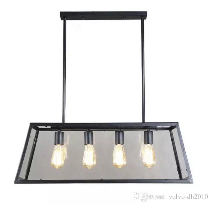 Retro Rustic Wrought Iron Black Chandelier Light Rectangle Loft Pendant Lamp Vintage Industrial Glass Box Pendant Light Dining Room Bar Lamp