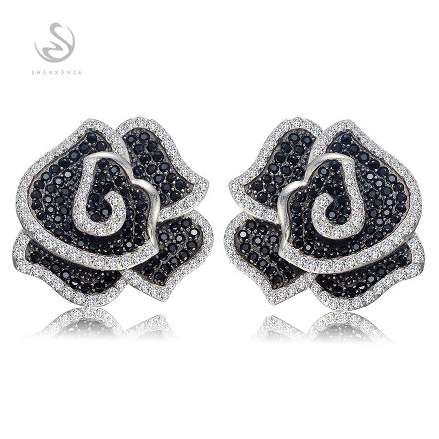 Die neue Auflistung Promotion Edle Großzügige Bestseller S-3790 Weiß und Schwarz Zirkonia Shinning 925 Sterling Silber Mode Ohrringe