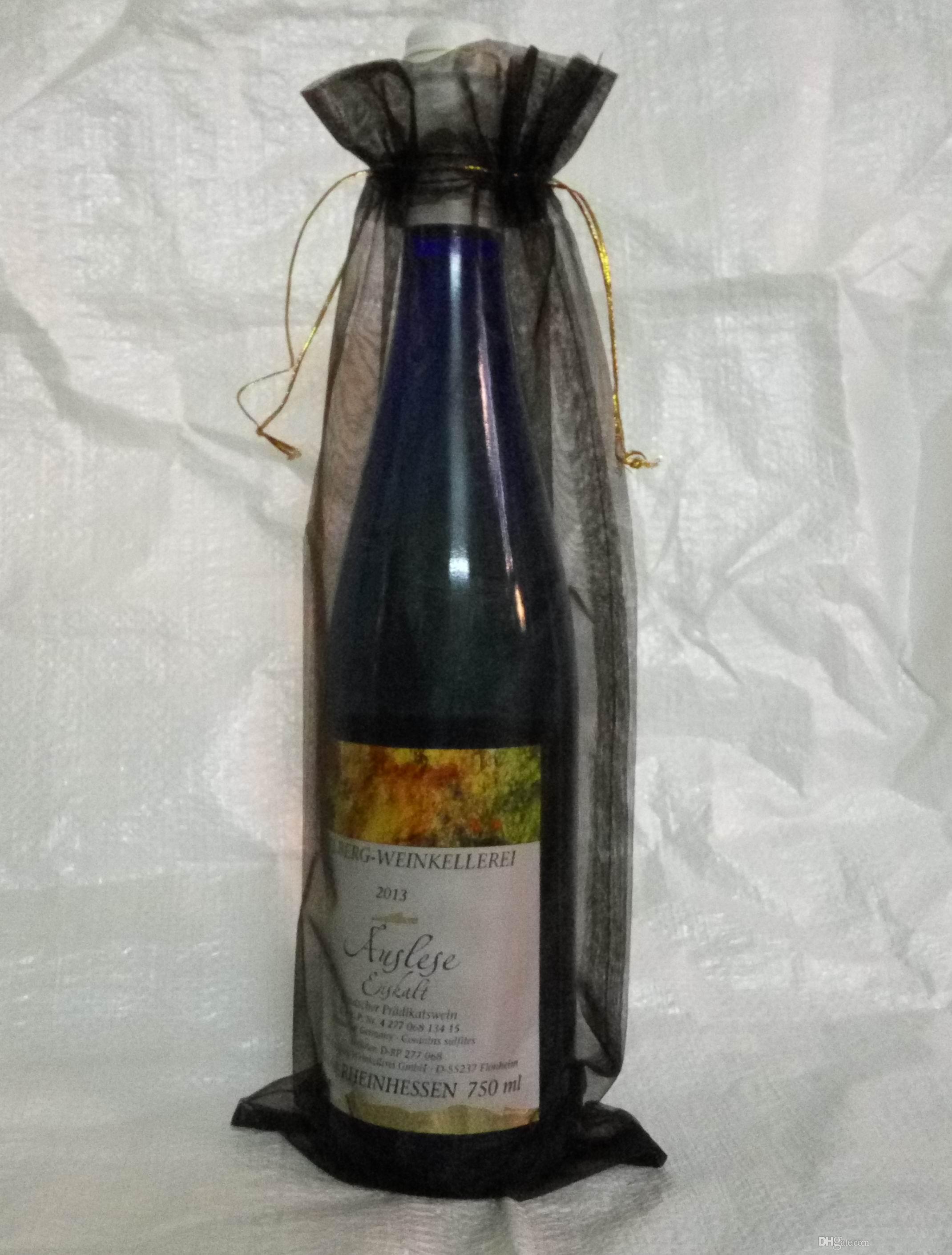 200 Stücke Schwarz Organza Geschenktüte Organzabeutel Hochzeit Gunsten 14X35 cm Wein flasche taschen (oder Mix farben)