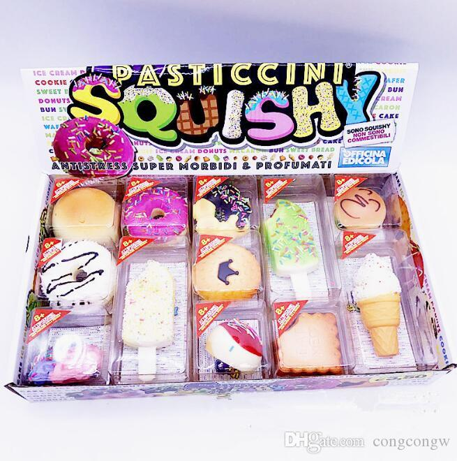 12 pcs a set PU Squishy Cute Lovely Cartoon Pendant Kawaii Bread Squishy Simulation Bread Food Squishy Super Kid Toy Decompression Toys