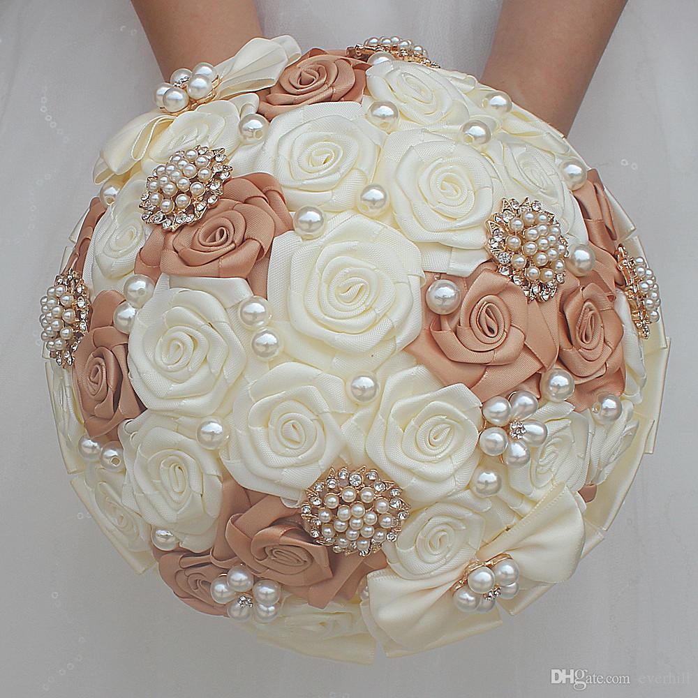 Bouquet Sposa Con Perle.Acquista Jane Vini Rose Kaki Eleganti Bouquet Da Sposa Con Perle
